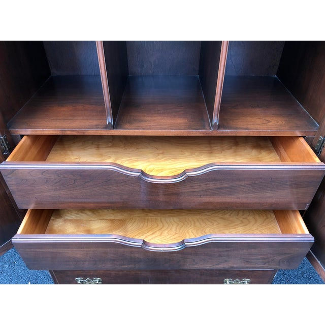 Ethan Allen Ethan Allen Georgian Court Cherry Armoire Dresser For Sale - Image 4 of 12