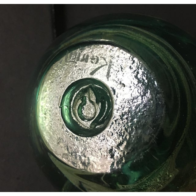 Vintage Irish Kerry Art Glass Green Paperweight For Sale - Image 4 of 6