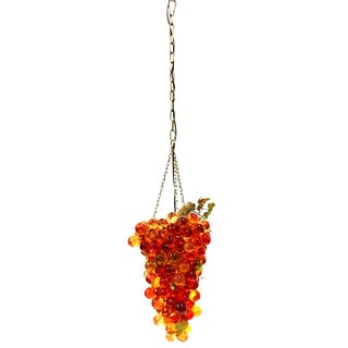 Mid-Century Lucite & Brass Large Grape Bunch Form Hanging Pendant Light For Sale