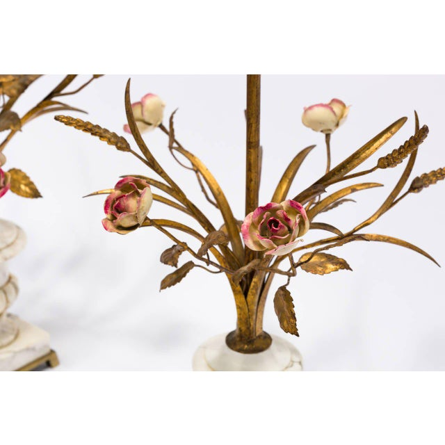 Pair of Italian Marble Urn and Gilded Metal Floral Lamps For Sale - Image 10 of 11