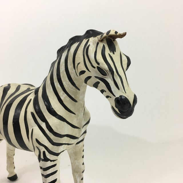 Black and white leather zebra figure/ statue. Handcrafted piece with beautiful addition to detail. Size is great for...