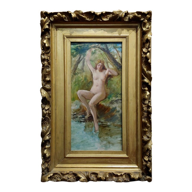 19th Century French School-Nude Nymph by the River -Oil Painting For Sale