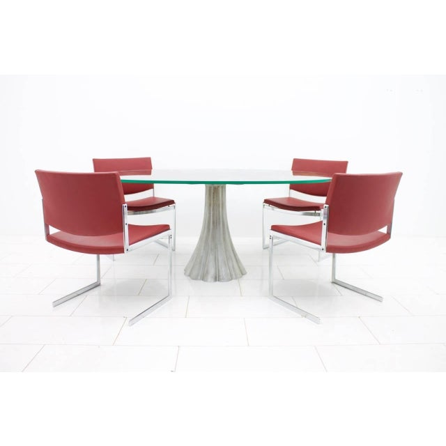 White Oval Dining Table With Mirrored Glass Top and Metal Base Italy 1960s For Sale - Image 8 of 11
