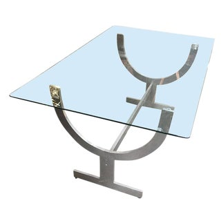 Glass Top Aluminum Wish Bone Sculptural Base Dining Table For Sale