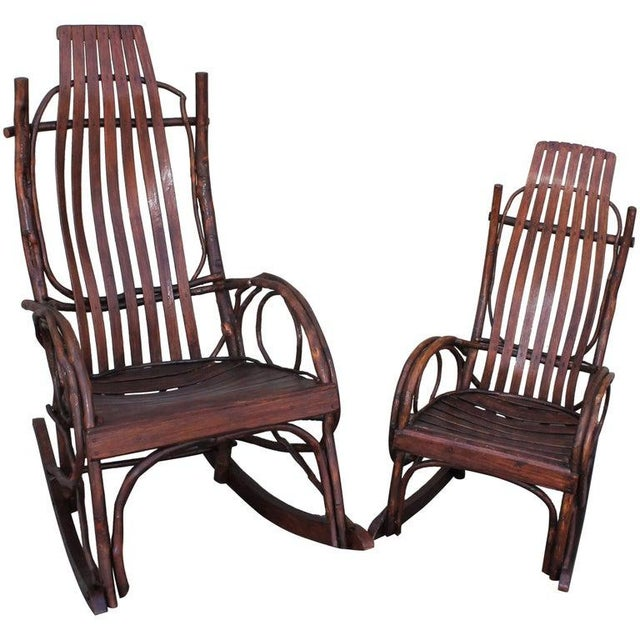 Amish Bent Wood Adults and Child's Rocking Chairs - Set of 2 For Sale - Image 12 of 12