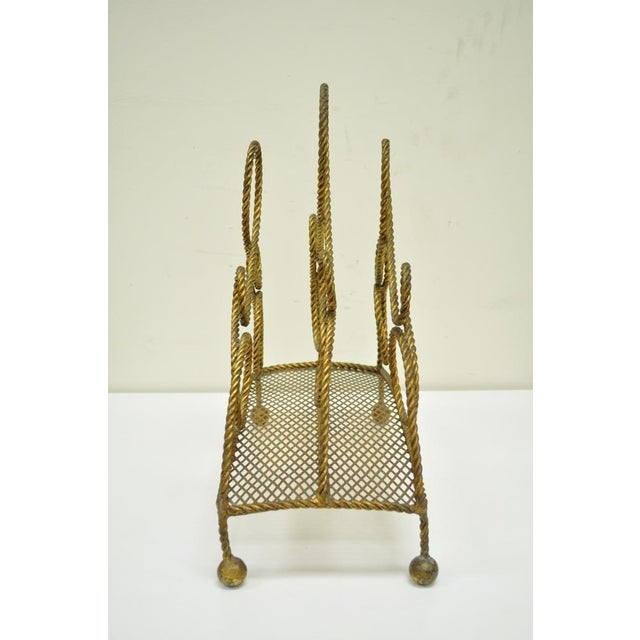 Vintage Italian Hollywood Regency Gold Gilt Iron Rope Tole Magazine Holder For Sale - Image 4 of 11