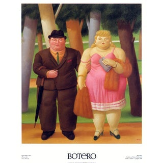 """FERNANDO BOTERO Married Couple 35.5"""" x 27.5"""" Poster Contemporary Pink, Brown, Multicolor Woman, Man - Set of 6 For Sale"""