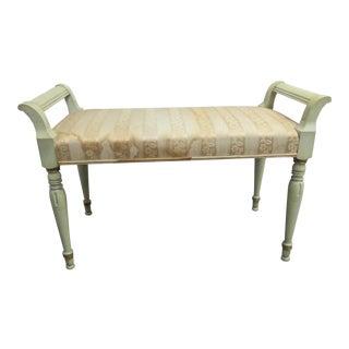 Regency Green Painted Vanity Bench For Sale