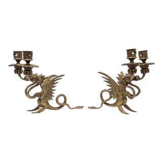 1880s Brass / Bronze Two Headed Dragon Griffin Chambersticks / Candlesticks - a Pair For Sale