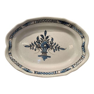 Early 20th Century French Hand Painted Faience Oval Platter From Normandy For Sale