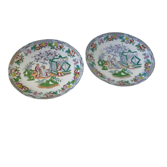 19th Century Chinese Figural Famille Rose Plates - a Pair For Sale - Image 5 of 8