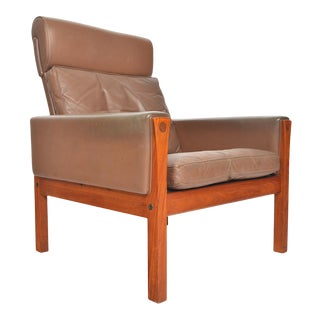 Hans Wegner Ap 62 Highback Lounge Chair in Teak For Sale