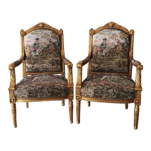 French Louis XVI Style Chairs - A Pair - Image 1 of 5