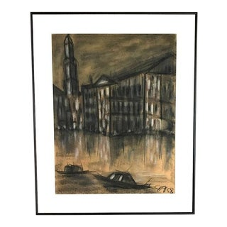 Mid Century Charcoal City Scape, Boats and a City - 1958 For Sale