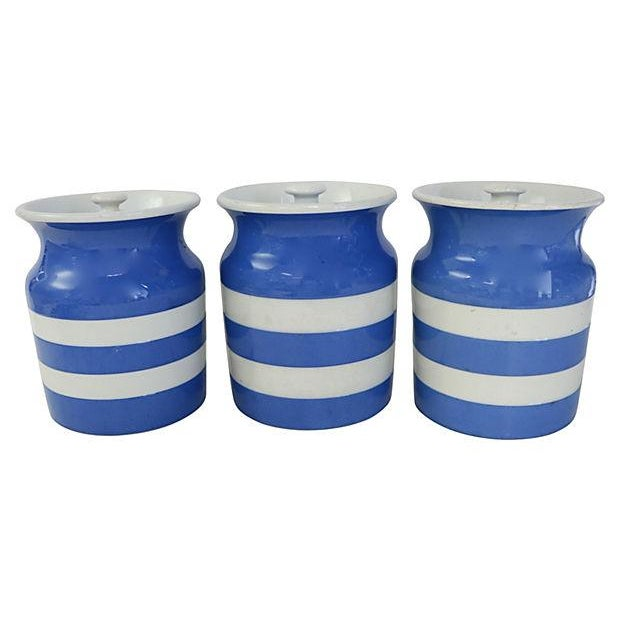 Vintage English Cornishware Canisters - Set of 3 - Image 2 of 4