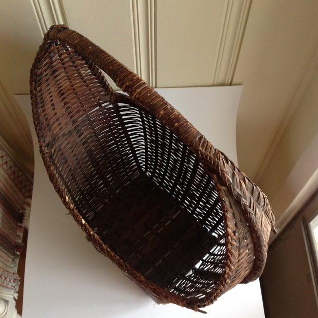 Rustic Woven Wicker Basket For Sale - Image 7 of 9