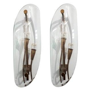 Pair of Engraved Fontana Arte Sconces For Sale