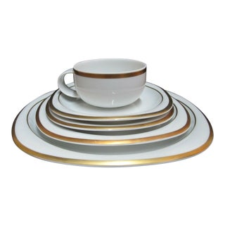 Vintage Rosenthal Studio Banquet Suomi Series Gold Gilt Cup Plate Setting - 5 Piece Set For Sale