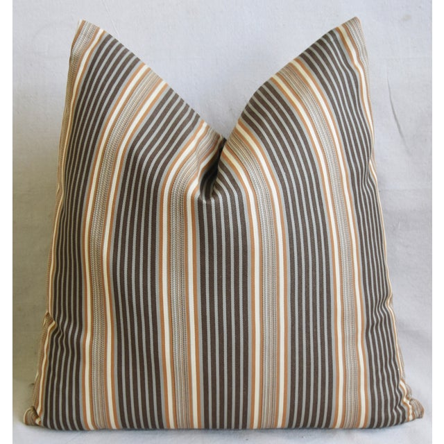 "French Striped Ticking Feather/Down Pillows 24"" Square - Pair For Sale - Image 9 of 11"