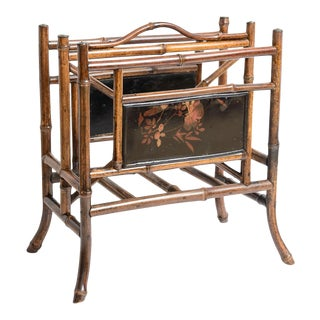 Antique English Bamboo & Lacquer Magazine Holder/Rack For Sale