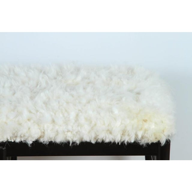 2010s Gio Ponti Inspired Bench in Natural Sheepskin For Sale - Image 5 of 6