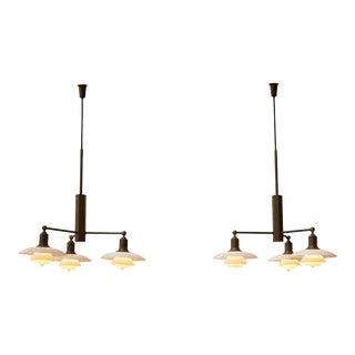 Pair of Poul Henningsen Limited Edition Three-Arm Chandeliers For Sale