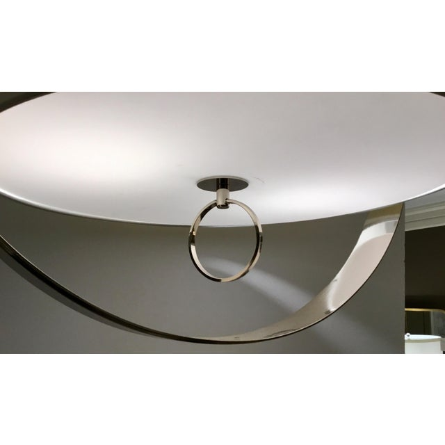 2010s Regina Andrew Modern Large Drum Shade Polished Nickel Derby Chandelier For Sale - Image 5 of 6
