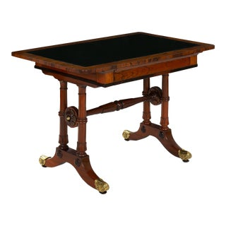 Circa 1835 English Antique Rosewood Leather-Top Accent Table For Sale