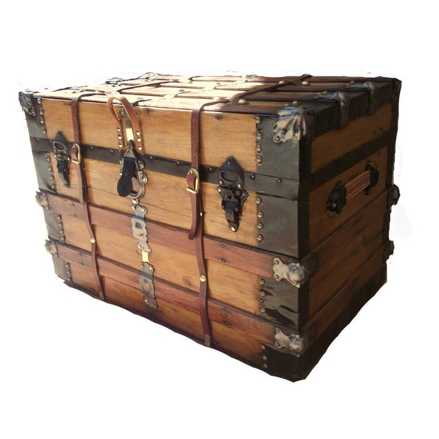 Turn of the century fully restored carriage box trunk in natural tung oil finish. Hardwood slats in sedona stain, all...