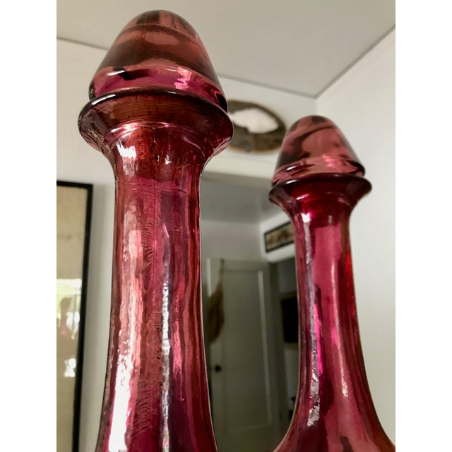 Glass Vintage Pink Art Glass Spanish Wine Decanters - a Pair For Sale - Image 7 of 11