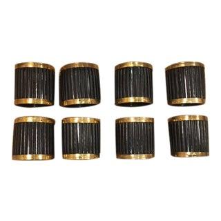 Hand Carved Horn and Brass Juliska Napkin Rings - Set of 8 For Sale