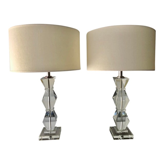 Ethan Allen Geometric Crystal Lamps and Shades - a Pair For Sale