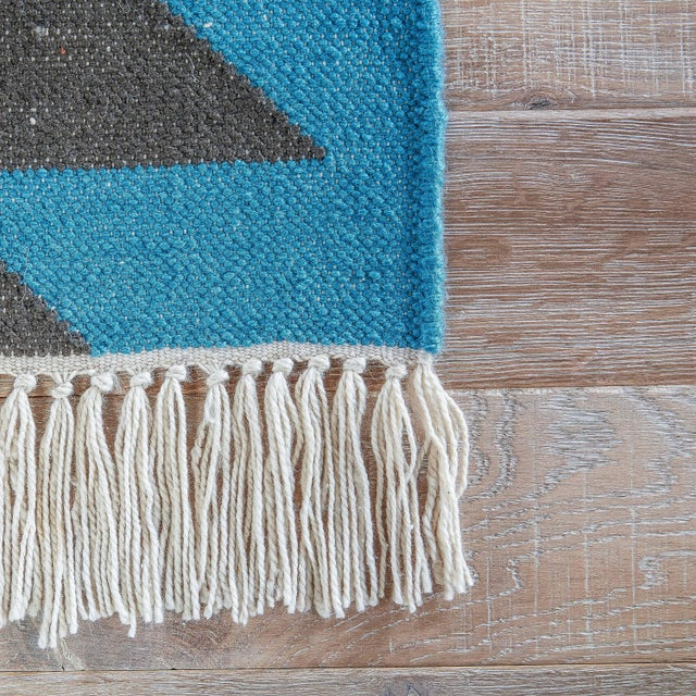 Contemporary Jaipur Living Mojave Indoor/ Outdoor Geometric Aqua/ Gray Area Rug - 2′ × 3′ For Sale - Image 3 of 6