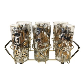 1960's Casino Highball Glasses in Caddy - Set of 6 For Sale