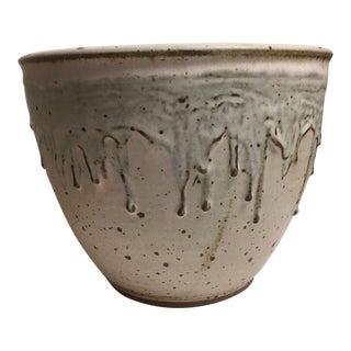 Late 20th Century Cream Drip Glaze Studio Pottery Bowl For Sale