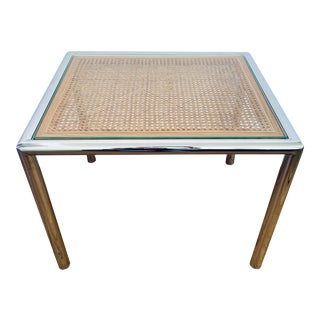 1970's Milo Baughman Chrome & Cane Side Table For Sale