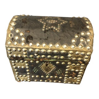 18th Century Gothic French Leather Jewelry Box With Decorative Brass Nails For Sale