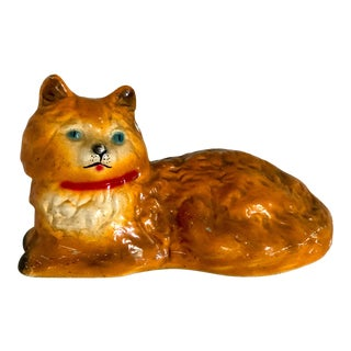 Cat Doorstop Orange Tabby Painted Concrete For Sale