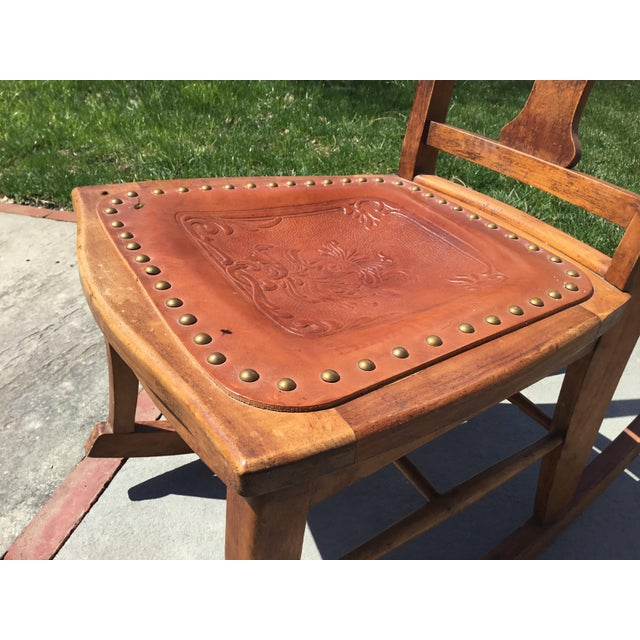 Traditional Rocking Chair With Leather and Nailhead Trim Seat For Sale - Image 3 of 9