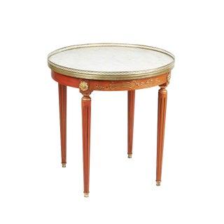Vintage 1920s Marble Top Bouillotte Table