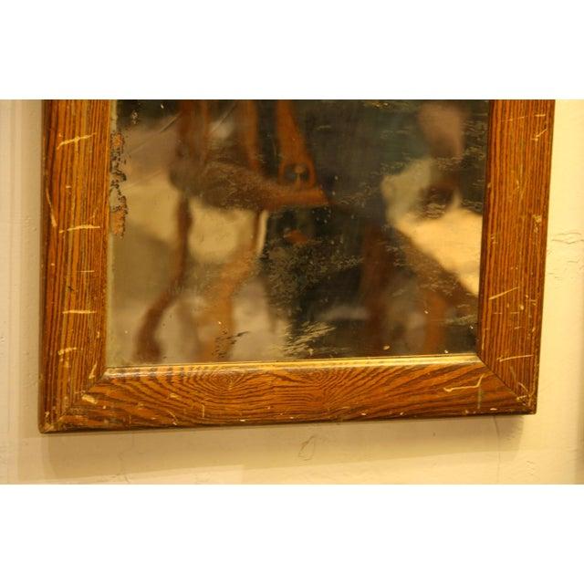 Rustic Vintage Faux Wood Grain Metal Mirror For Sale - Image 3 of 5