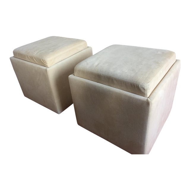 American Leather Uno Ottomans A Pair Chairish