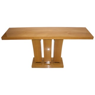 Blonde Satin Wood Console Table - 2 Available For Sale