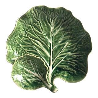 Vintage Cabbage Leaf Majolica Serving Bowl-Bordallo Pinheiro For Sale