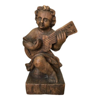 Handcarved Spanish Statue of Girl Playing Strings For Sale