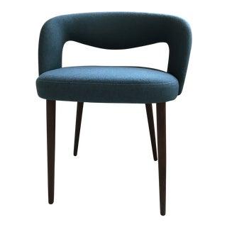 1950s Danish Modern Teak and Wool Upholstered Vanity or Side Chair