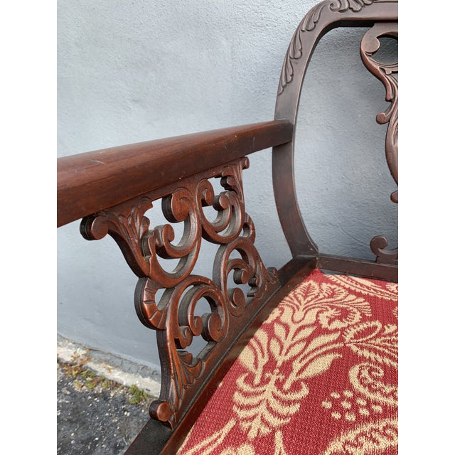 Brown Antique Jacobean Accent Chair For Sale - Image 8 of 13