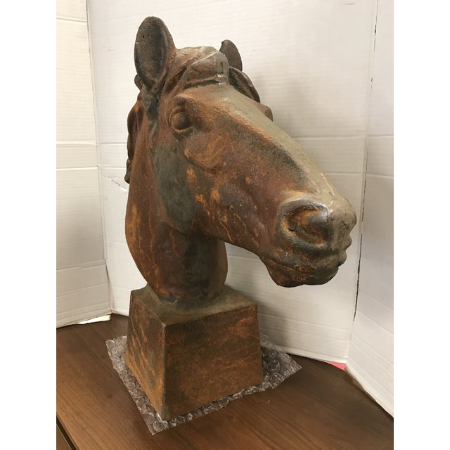 Primitive Life Size Cast Iron Horse Head For Sale - Image 3 of 5
