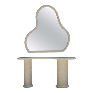 1980s Hollywood Regency Italian White Marble Console Table & Wall Mirror For Sale