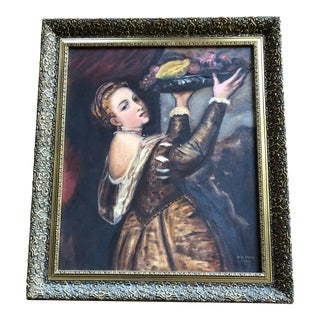Renaissance Titian Style Mid-Century Modern Oil Painting For Sale